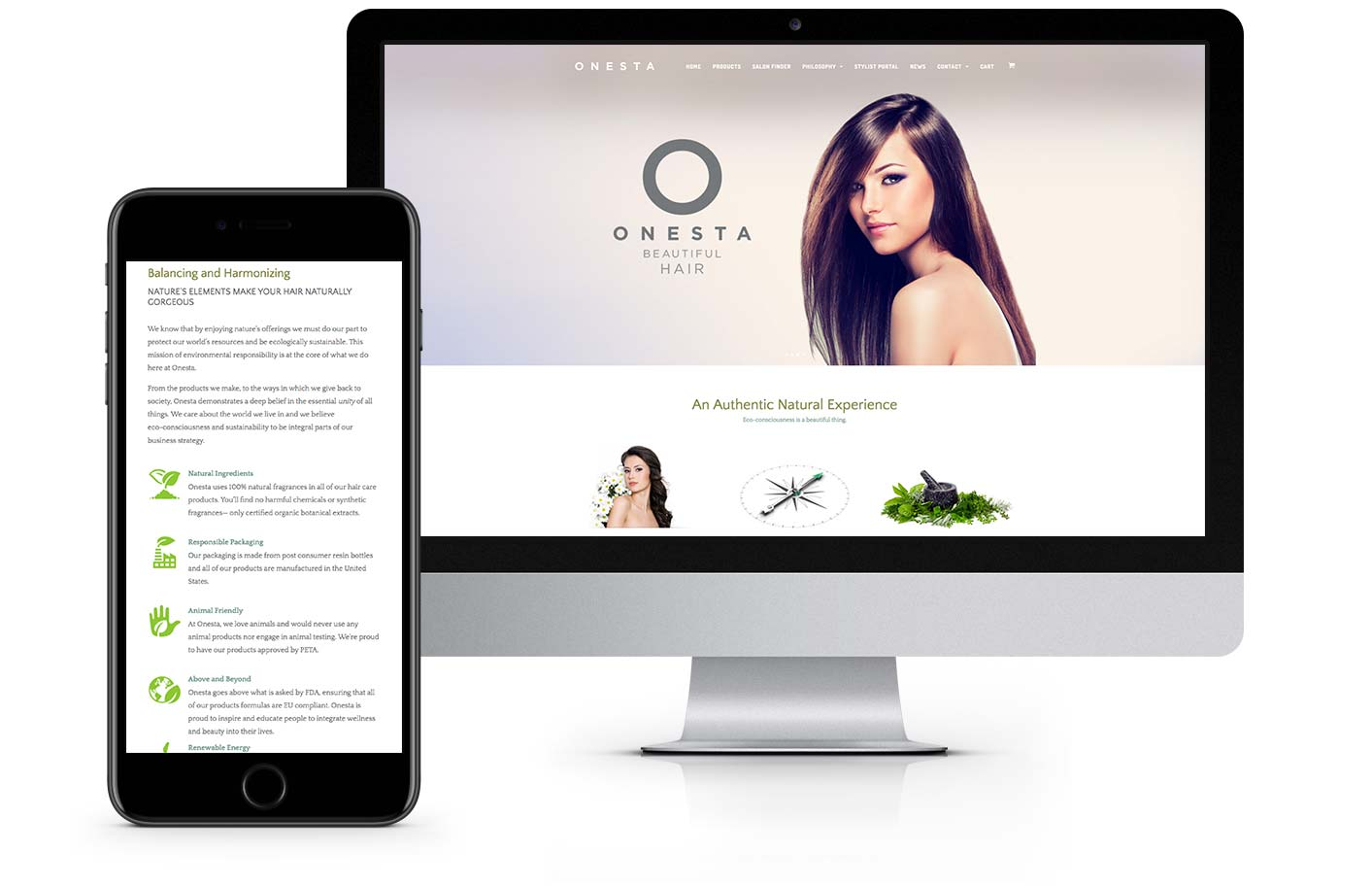 Web Design - Onesta Hair Care